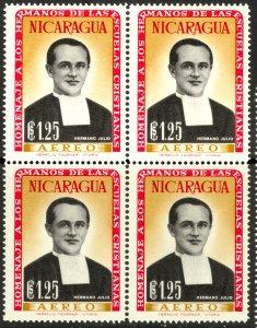 NICARAGUA 1958 1.25cor Brother Julio Airmail Block of 4 Sc C420 MNH