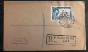 1948 Pitcairn Island Registered Cover To Grimsby England