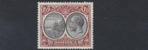 DOMINICA  1923 - 33   S G  75    1 1/2D   BLACK  &  BROWN      MH