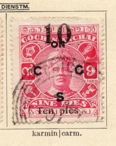 Cochin 1923 Early Issue Fine Used 10p. Surcharged Optd 322458