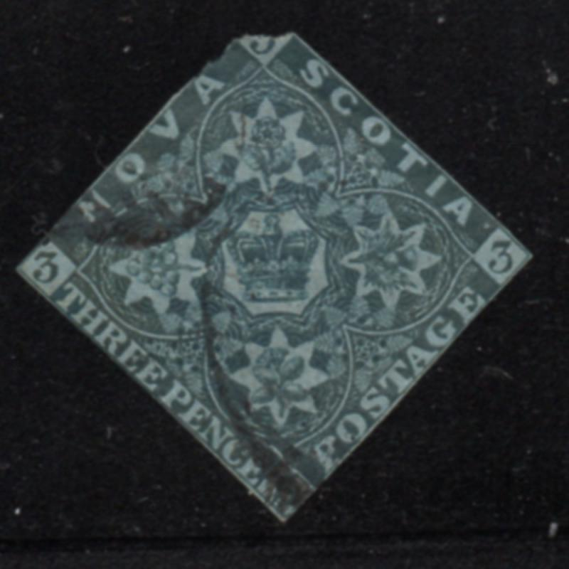 Nova Scotia  Sc 3 1851 3d Crown and Flowers stamp used