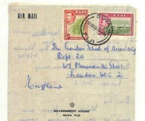 FIJI Cover *Government House* Imprint KGVI MIXED REIGNS Air Letter 1958 Ap488