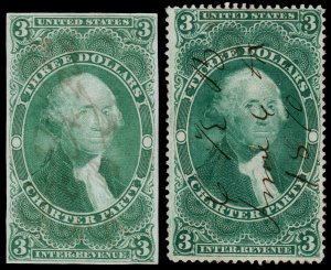 United States Revenue Scott R85a, R85c (1862-71) Used F, CV $211.00 W