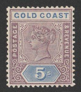 GOLD COAST 1889 QV 5/- dull mauve & blue.