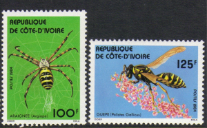 Ivory Coast #710-11 mint set, insects, issued 1984
