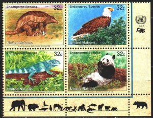 UN New York. 1995. 681-84. Fauna. MNH.