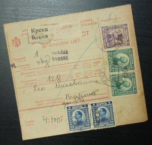Yugoslavia 1925 Parcel Card from Kreka to Bijeljina Bosnia & Herzegovina A20