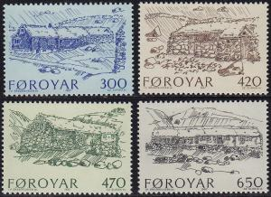 Faroe Islands - 1987 - Scott #152-55 - MNH - Farmhouses