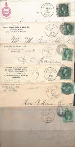 Boston Letters, Six Envs ca.1878//1882 cnls, Massachusetts