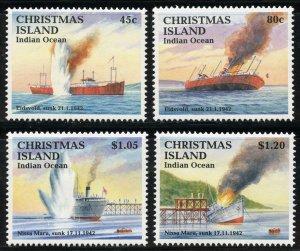 Christmas Island Scott 343-46 Unused LHOG - WWII Sinking of Ships - SCV $12.50