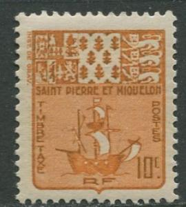 St Pierre et Miquelon.-Scott J68-Postage Due -1947- MLH - Single 10c Stamp
