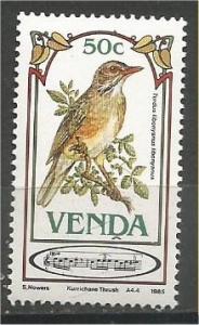 VENDA, 1985, MNH 50c, Songbirds, Scott 119
