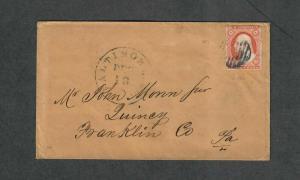 US Sc#11a Experimental Orange Brown Amonette Cert 1851 Letter, Cv. $700