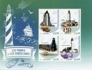 Gabon Stamps 2019 MNH Lighthouses & Seashells Shells Architecture Marine 4v M/S