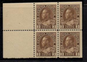 Canada Sc 108a 1918 2c brn G V Admiral stamp bklt pane of 4