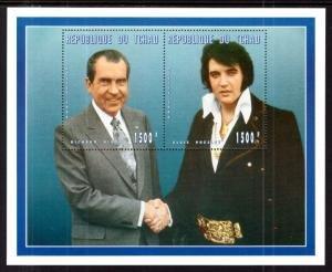 Chad #672 s/sheet of 2, F-VF Mint NH ** Richard Nixon and Elvis Presley