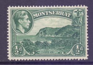 Montserrat Scott 92 - SG101a, 1938 George VI 1/2d Perf 14 MH*