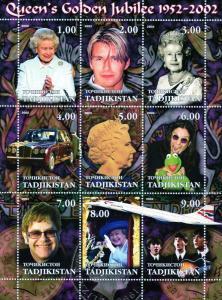 Tadjikistan 2002 Golden Jubilee/Beatles/Concorde/Shlt (9)MNH