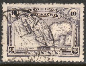 MEXICO 647, 40cents MAP OF MEXICO wmk USED. F-VF. (406)