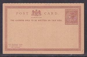 JAMAICA QV ½d + ½d reply postcard unused.....................................747