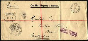 TONGA 1915 OHMS Registered cover to Switzerland via USA....................21012