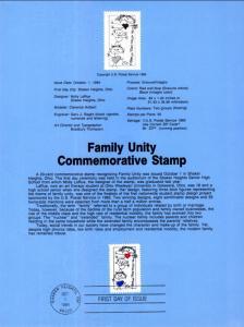 US SP659 Family Unity 2104 Souvenir Page FDC