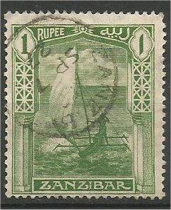 ZANZIBAR, 1921, used 1r, Dhow Scott 170
