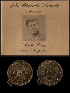 Ras Al Khaima Mi #264, 266 set/2 mnh w/ folder - 1968 JFK - gold foil (cond*)