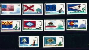 US Scott # 4273 - 4282 42c Flags of Our Nation MNH set of 10 Singles MNH