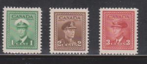 CANADA Scott # 249-51 Mint Lightly Hinged KGVI War Issue