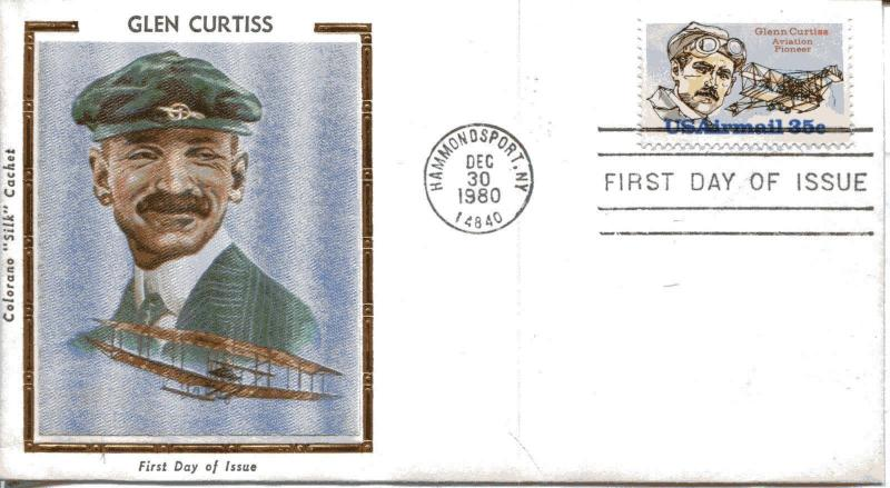US FDC Scott #C100 Glen Curtiss. Colorano Cachet. Free Shipping.