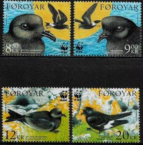 Faroe Is #458-61 MNH Set - WWF - Petrels - Birds