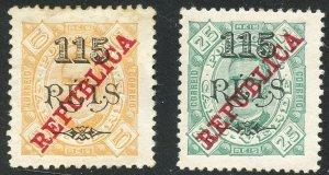 Cape Verde Scott 188-189 Unused F-VFOG - King Carlos Overprints - SCV $3.90