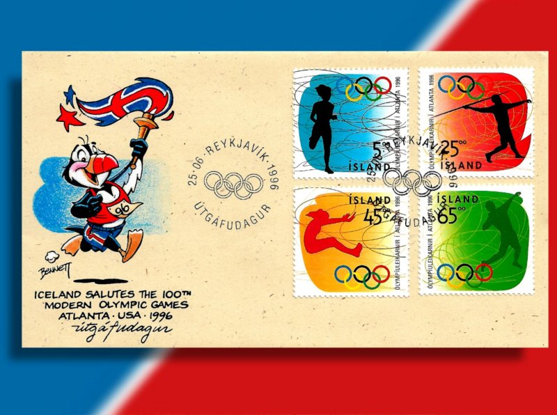 Iceland Salutes the Olympics Centennial on Handcolored 1996 FDC for 4 Events!