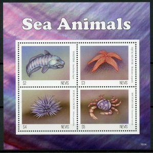 Nevis Fish Stamps 2019 MNH Sea Animals Crabs Sea Star Urchine Marine 4v M/S