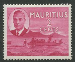 Mauritius - Scott 236 - KGVI Definitive Issue -1950 - MVLH -Single 2c Stamp