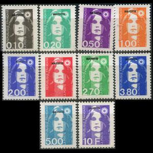 MAYOTTE 1892 - Scott# 75-84 Marianne Opt. Set of 10 NH