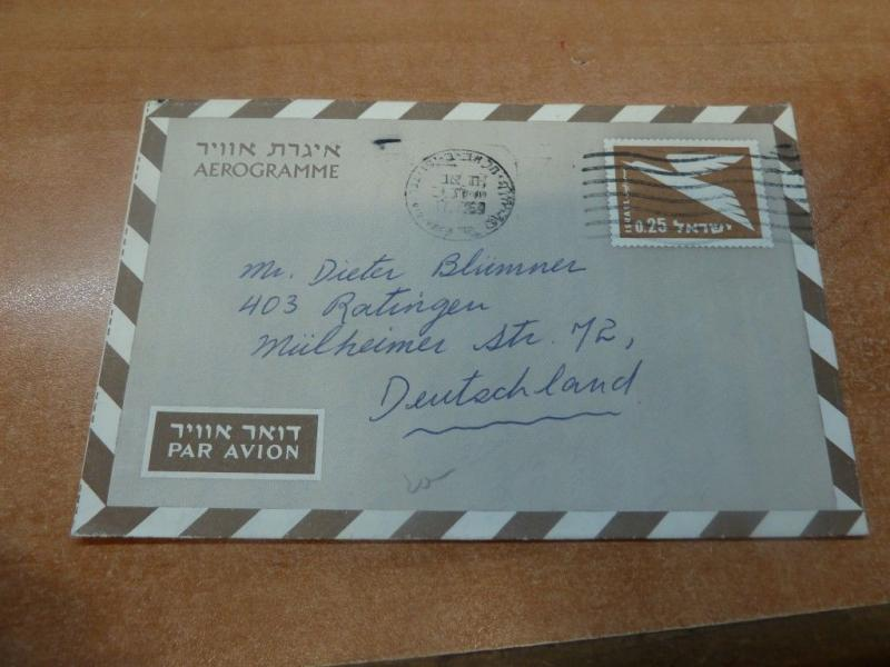 Israel 1964 .25 Aerogramme to Germany with message (45bed)