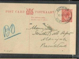 BASUTOLAND COVER (P2205B) 1922 FORERUNNER PSC SA USED QEUTHING TO MORIJA MSG