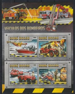 Guinea-Bissau MNH S/S Transport Fire Vehicles 2016