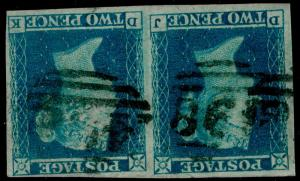 SG14Wi, 2d blue, FINE USED. Cat £1700. PAIR. WMK INV FULL MARGINS. DJ DK