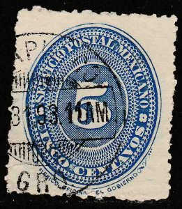 MEXICO 216, 5¢ LARGE NUMERAL WATERMARKED, USED. F-VF. (133)