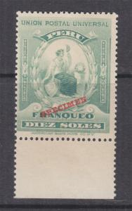 PERU, 1899 Pearls at side, 10s. Blue Green, ABN Punched Proof, SPECIMEN, mnh