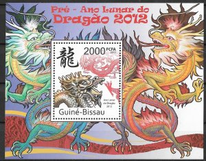 Guinea-Bissau MNH S/S Year Of The Dragon 2012