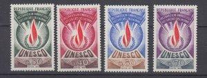 J29326, 1969-71 france set mlh #2o9-12 unesco