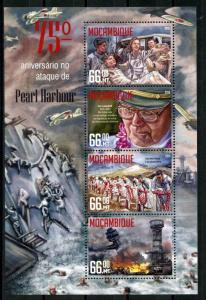 Mozambique MNH S/S Pearl Harbor 2016 4 Stamps