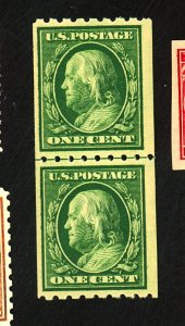U.S. #390 MINT Line Pair F-VF OG NH Cat $73