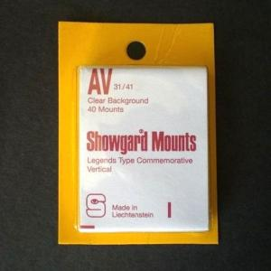 Showgard Stamp Mounts Size AV 31/41 CLEAR Background Pack of 40