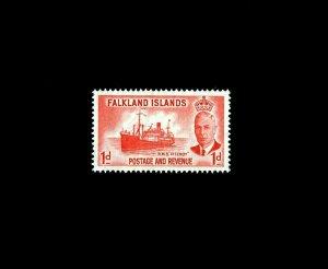 FALKLAND ISLANDS - 1952 - KG VI - SHIP - HMS FITZROY - # 108 - MINT MNH SINGLE!