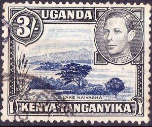 KENYA UGANDA TANGANYIKA 1947 KGVI 3/- Deep-Violet Blue & Black SG147a FU
